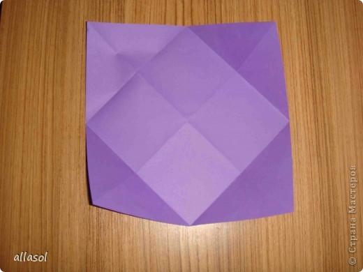 """Идея из книги Афонькиных """"Цветущий сад оригами"""".  Предлагаю сделать цветы тем, кто не боится слов """"сложить по всем намеченным линиям"""".  Делала немного по-другому, чем в книге.   фото 3"""