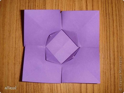 """Идея из книги Афонькиных """"Цветущий сад оригами"""".  Предлагаю сделать цветы тем, кто не боится слов """"сложить по всем намеченным линиям"""".  Делала немного по-другому, чем в книге.   фото 14"""