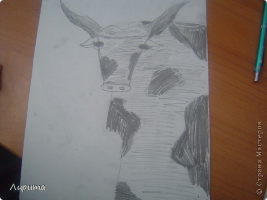 """Буффало- это """"Техасские буйволы"""". Также это является символом Техаса.  Сестру в школе научили, как нарисовать такого барана, а я спешу поделится с вами: будет мой первый МК.  фото 1"""