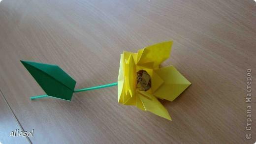 """Идея из книги Афонькиных """"Цветущий сад оригами"""".  Предлагаю сделать цветы тем, кто не боится слов """"сложить по всем намеченным линиям"""".  Делала немного по-другому, чем в книге.   фото 23"""