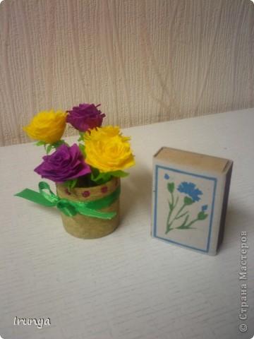 Даже не знаю почему - меня тянет последнее время на миниатюры... Букетик делала для себя, люблю фиолетовый цвет, решила немножко разбавить жёлтеньким))) Вроде ярко получилось фото 2