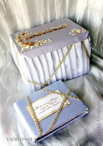 коробку делал муж из оочень плотного картона, а дальше вот, что получилось (ткань, ленты, бисер. цветы из ХФ) фото 1