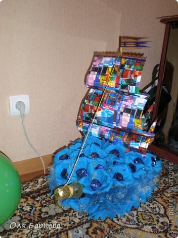 мой (первый) сладкий кораблик отправляется в своё  плавание к имениннику)))) фото 1