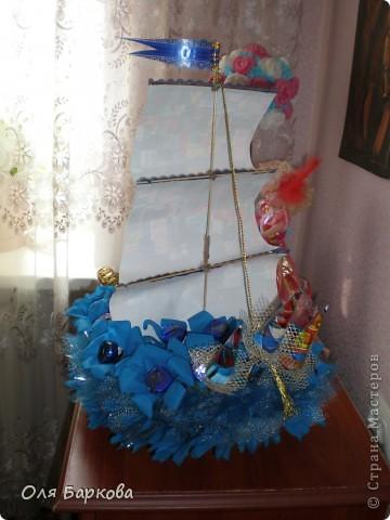 мой (первый) сладкий кораблик отправляется в своё  плавание к имениннику)))) фото 3