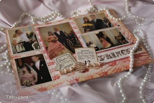 Обложка. Альбом на кольцах. Количество внутренних листов - 9. Альбом выполнен в розовых тонах, под платье невесты. Фотографию в рамке можно поменять. фото 6