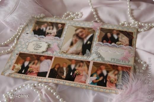 Обложка. Альбом на кольцах. Количество внутренних листов - 9. Альбом выполнен в розовых тонах, под платье невесты. Фотографию в рамке можно поменять. фото 9