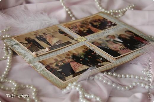 Обложка. Альбом на кольцах. Количество внутренних листов - 9. Альбом выполнен в розовых тонах, под платье невесты. Фотографию в рамке можно поменять. фото 10