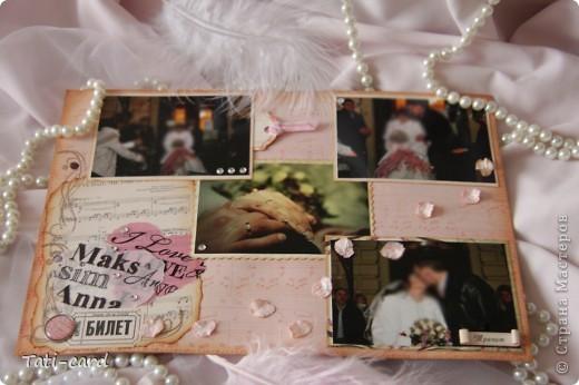 Обложка. Альбом на кольцах. Количество внутренних листов - 9. Альбом выполнен в розовых тонах, под платье невесты. Фотографию в рамке можно поменять. фото 11
