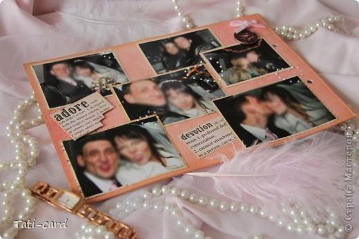 Обложка. Альбом на кольцах. Количество внутренних листов - 9. Альбом выполнен в розовых тонах, под платье невесты. Фотографию в рамке можно поменять. фото 12
