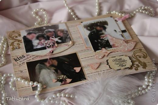 Обложка. Альбом на кольцах. Количество внутренних листов - 9. Альбом выполнен в розовых тонах, под платье невесты. Фотографию в рамке можно поменять. фото 13