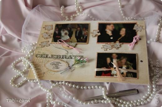Обложка. Альбом на кольцах. Количество внутренних листов - 9. Альбом выполнен в розовых тонах, под платье невесты. Фотографию в рамке можно поменять. фото 14