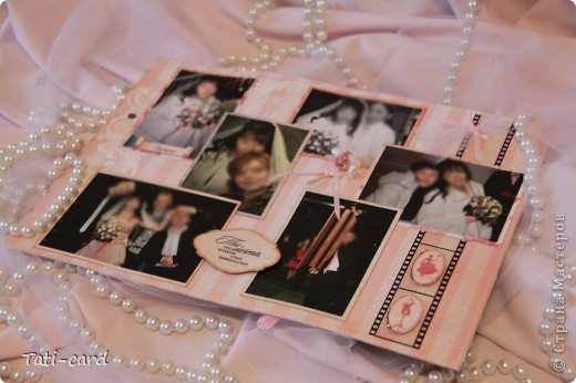 Обложка. Альбом на кольцах. Количество внутренних листов - 9. Альбом выполнен в розовых тонах, под платье невесты. Фотографию в рамке можно поменять. фото 15