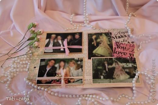 Обложка. Альбом на кольцах. Количество внутренних листов - 9. Альбом выполнен в розовых тонах, под платье невесты. Фотографию в рамке можно поменять. фото 17