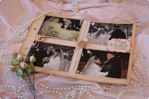 Обложка. Альбом на кольцах. Количество внутренних листов - 9. Альбом выполнен в розовых тонах, под платье невесты. Фотографию в рамке можно поменять. фото 19