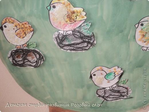 Птички выполнены с помощью крупы (гречка, рис, горох) фото 1