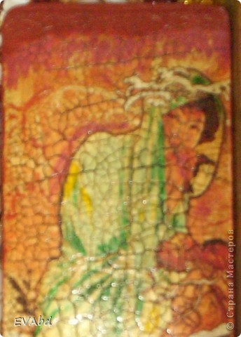 Материалы - заготовка из МДФ, акриловые краски, рисовая бумага, набор для двухшагового кракле IDIGO: 2 лака и паста антик для затирки трещин, акриловый глянцевый лак. фото 2