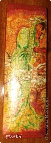 Материалы - заготовка из МДФ, акриловые краски, рисовая бумага, набор для двухшагового кракле IDIGO: 2 лака и паста антик для затирки трещин, акриловый глянцевый лак. фото 1