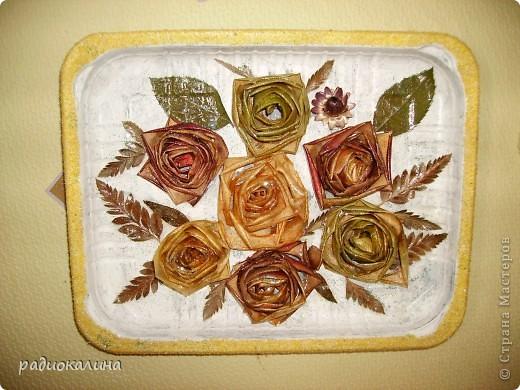 У меня цветут цветы необыкновенные - яблочные розы, таких нет ни у кого. Они бывают желтые, красные, зеленые. Яблоки продают у нас порой с такой неприятной кожурой, что ее срезают и выбрасывают, а у меня все в дело пошло. Свернула кожуру в розочку и сушить на батарею -  результат перед вами.  фото 1