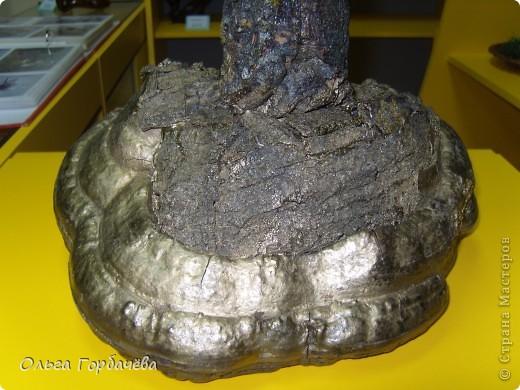 Сама ваза из тубы картонной обклеена корой с разноцветным лишайником.Подставка-основание из гриба-трутовика,частично обклеенного корой и покрытой бронзой.Кора на вазе покрыта лаком бесцветным.Тубу в основании заливала гипсом. фото 6