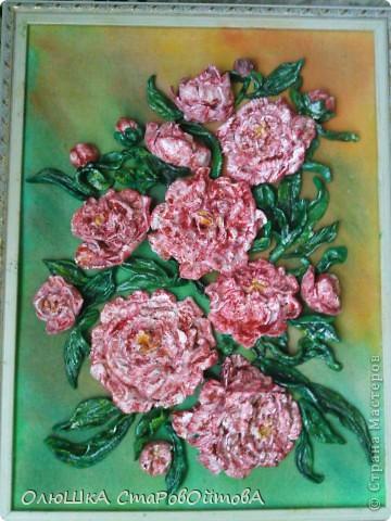 Пионы из солёного теста. Делала первый раз на заказ- попросили пионы и именно розовые. фото 1