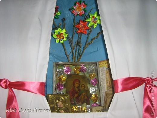 Два набожника у нашей бабули в доме в деревне. Вот и вербочку нарвали и украсили цветами канзаши))) фото 4