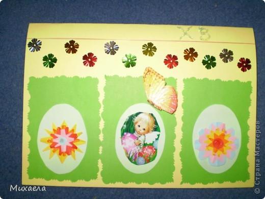 Дочке очень понравилось ваша игра, и сделала  такую открытку, вместе с мамой. Она сделала  цветочки, приклеила на яйчка и клейла ряд цветочков. Моей дочке 5 лет. Она рада результату. фото 3