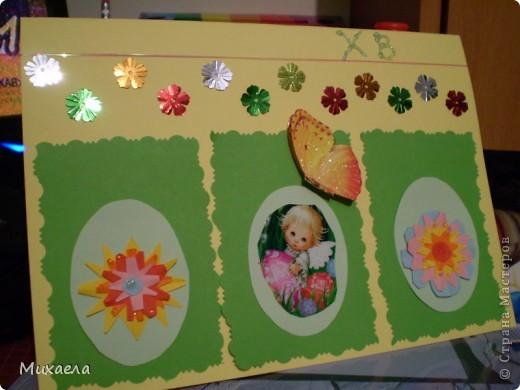 Дочке очень понравилось ваша игра, и сделала  такую открытку, вместе с мамой. Она сделала  цветочки, приклеила на яйчка и клейла ряд цветочков. Моей дочке 5 лет. Она рада результату. фото 2