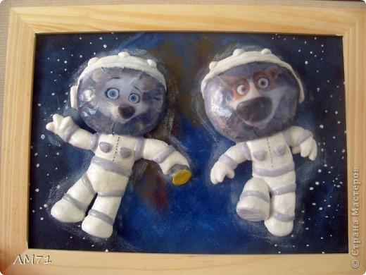 Попросили ко Дню космонавтики сделать что-нибудь интересное из солёного теста. Перерыла кучу материала, и вдруг вспомнила про мультик. Вот, что получилось. Не судите строго, это  одна из первых работ. фото 1