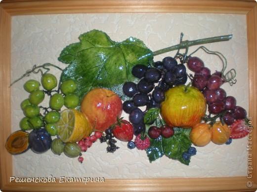 Всем доброго времени суток. Представляю вашему вниманию очередную свою работу - на этот раз это фрукты и ягоды. Здесь и персик с яблочком, и виноград, и слива с вишней,  смородинка с клубникой, абрикосы и черника с малинкой. В данной работе использовала настоящие веточки винограда и смородины ( без ягод!),косточки от лимона и сливы. Делала оттиск на тесте настоящего виноградного листа.  О сходстве с оригиналами судить вам. фото 1
