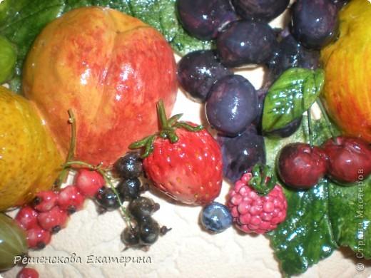 Всем доброго времени суток. Представляю вашему вниманию очередную свою работу - на этот раз это фрукты и ягоды. Здесь и персик с яблочком, и виноград, и слива с вишней,  смородинка с клубникой, абрикосы и черника с малинкой. В данной работе использовала настоящие веточки винограда и смородины ( без ягод!),косточки от лимона и сливы. Делала оттиск на тесте настоящего виноградного листа.  О сходстве с оригиналами судить вам. фото 9