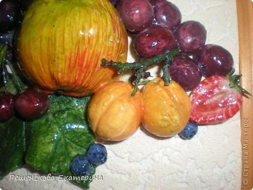 Всем доброго времени суток. Представляю вашему вниманию очередную свою работу - на этот раз это фрукты и ягоды. Здесь и персик с яблочком, и виноград, и слива с вишней,  смородинка с клубникой, абрикосы и черника с малинкой. В данной работе использовала настоящие веточки винограда и смородины ( без ягод!),косточки от лимона и сливы. Делала оттиск на тесте настоящего виноградного листа.  О сходстве с оригиналами судить вам. фото 11