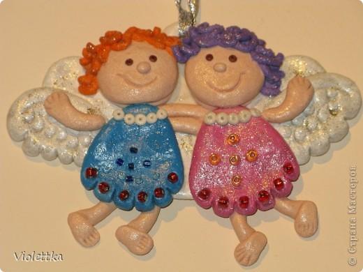 Ангелочки, сделаны по книге Лучшие поделки из соленого теста. Сделаны в подарок подруге на крещение малыша фото 3