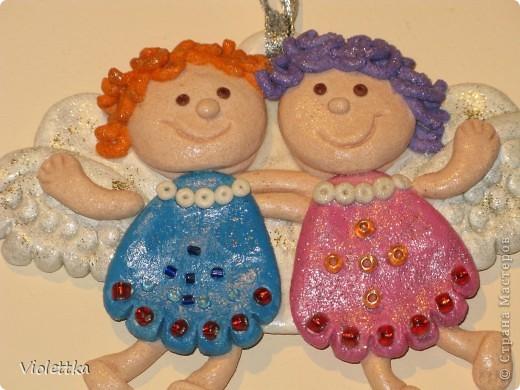 Ангелочки, сделаны по книге Лучшие поделки из соленого теста. Сделаны в подарок подруге на крещение малыша фото 4