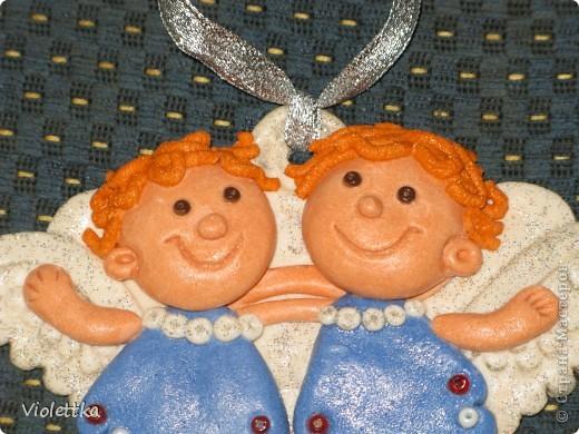 Ангелочки, сделаны по книге Лучшие поделки из соленого теста. Сделаны в подарок подруге на крещение малыша фото 2
