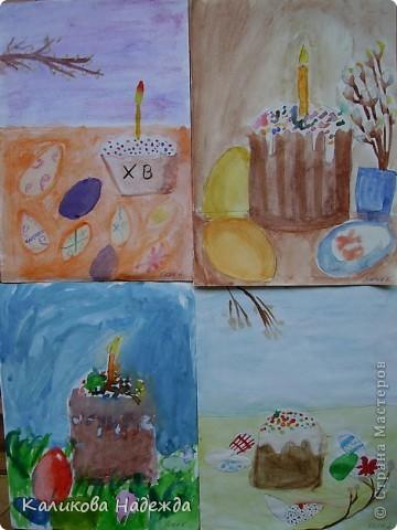 Начнем с урока рисования. Вчера делали эскиз праздничного пасхального стола.  фото 4