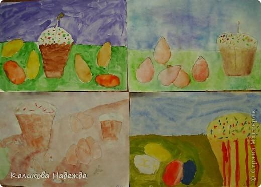 Начнем с урока рисования. Вчера делали эскиз праздничного пасхального стола.  фото 5
