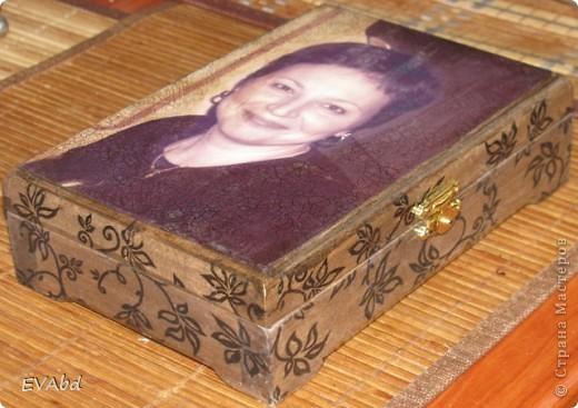Шкатулка на День Рождения подруги, с ее фото. Шкатулка из дерева, салфетка, краски, распечатка, 2-х шаговый кракле IDIGO, лак. фото 1