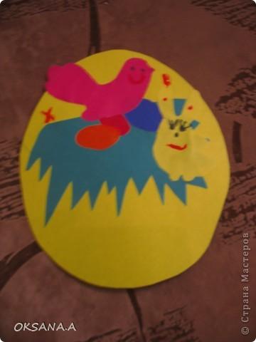 Эти поделки к Пасхе сделала моя старшая дочка Валерия 7 лет. Это аппликация из пластилина и круп. фото 3