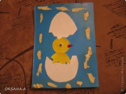 Эти поделки к Пасхе сделала моя старшая дочка Валерия 7 лет. Это аппликация из пластилина и круп. фото 4