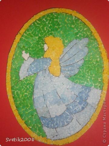 Очень люблю мозаику в разных ее проявлениях.  Это  моя первая  попытка в этой технике. Она из яичной скорлупы.  фото 3
