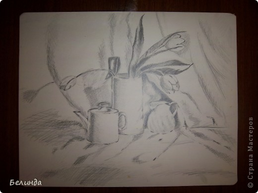 Рисунок акварельными карандашами. Названия цветка не помню. фото 3