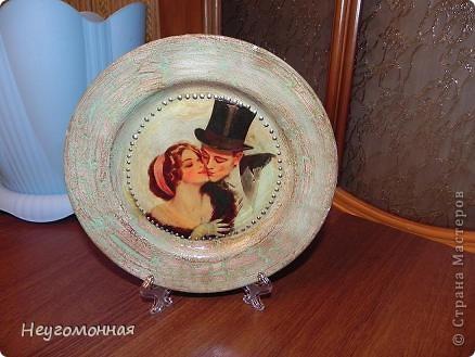 Акриловые краски, старая фарфоровая тарелка, истончённая распечатка и... вуаля!  фото 1