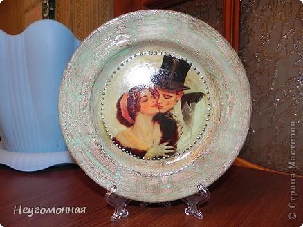 Акриловые краски, старая фарфоровая тарелка, истончённая распечатка и... вуаля!  фото 2