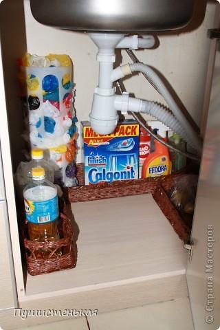 Очень захотелось мне навести порядок под мойкой....надоели эти, вечно падающие, бутылочки....бесформенные пакеты с картошкой и луком.... и вот что у меня родилось...наборчик под мойку! фото 6