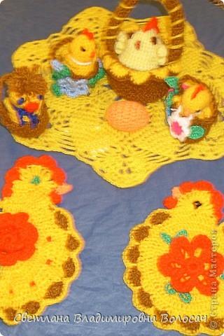 ПАСХА цыплята, курочки, яички; прихватки...вязанные фото 7