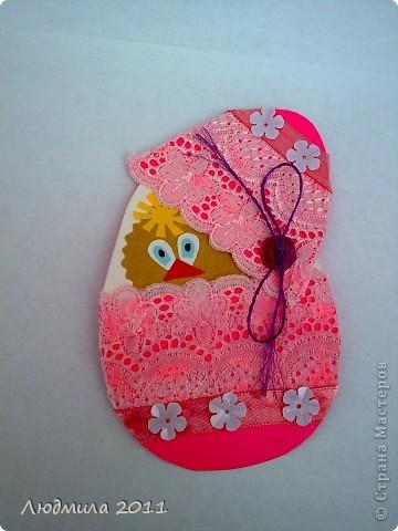 Увидела у Голубки вот такие открытки к Пасхе, сделанные детьми.... решили сделать что-то похожее на подарки. Вот что у нас получилось... Открытки все вместе. фото 3
