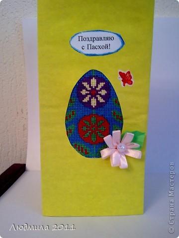 Увидела у Голубки вот такие открытки к Пасхе, сделанные детьми.... решили сделать что-то похожее на подарки. Вот что у нас получилось... Открытки все вместе. фото 10