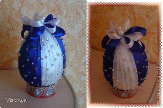 Подарок тётушке. Увидела в интернете, как украсить лентами и бисером яйцо к Пасхе. фото 1