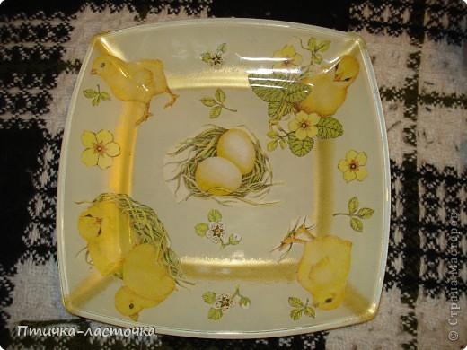 Тарелочка для пасхи или кулича (обратный декупаж) фото 1