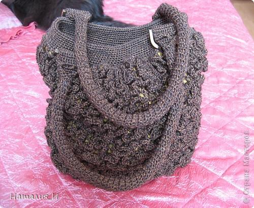 """Обожаю сумки, просто с ума схожу! Покупаю их и вяжу/шью сама. Вот моя новая сумочка. Связана из пряжи """"Катекс"""" крючком фото 20"""